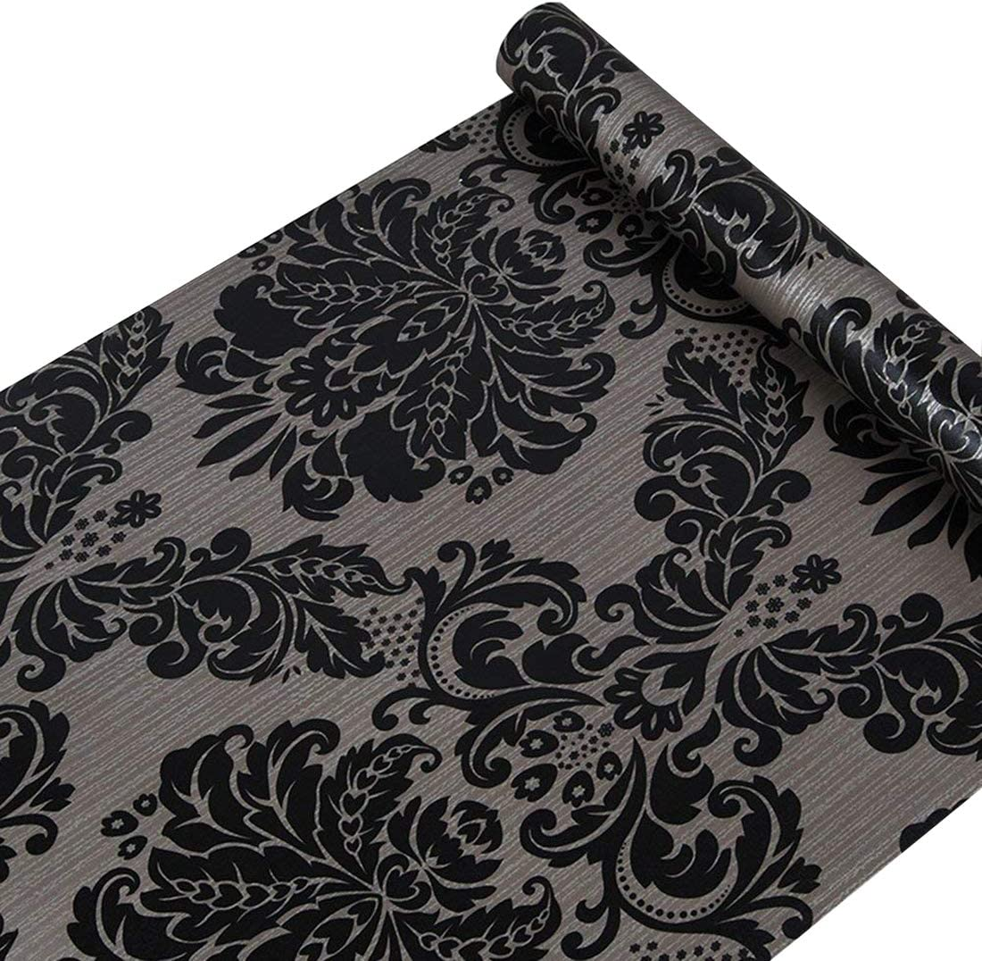 GLOW4U Self Adhesive Vinyl Decorative Black Damask Contact Paper for Cabinets Door Sheves Drawer Dresser Wall Sticker Decal (17.7x197 Inches)