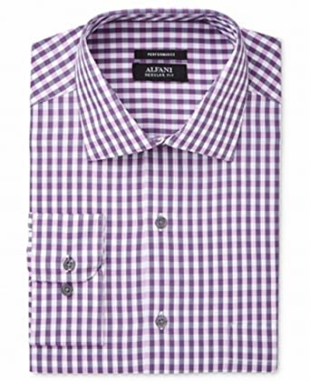 f9dcf64d9f76 Alfani Mens ClassicRegular Fit Performance Oversized Check Dress Shirt  (Berry, 14-14.5 X