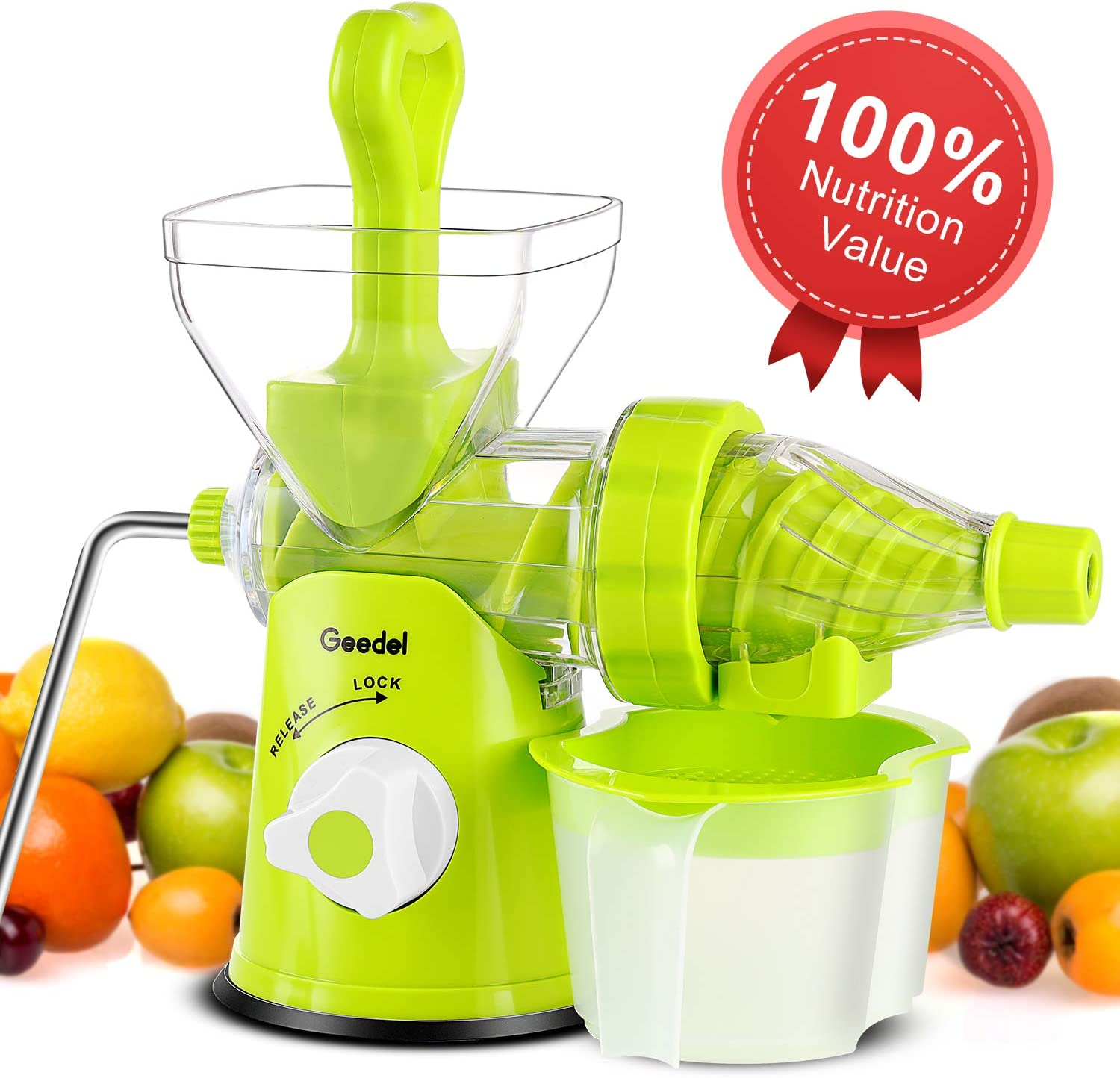 Manual Masticating Juicer Easy to Clean, Hand Slow Juicer Machine for Vegetables and Fruits (Green)
