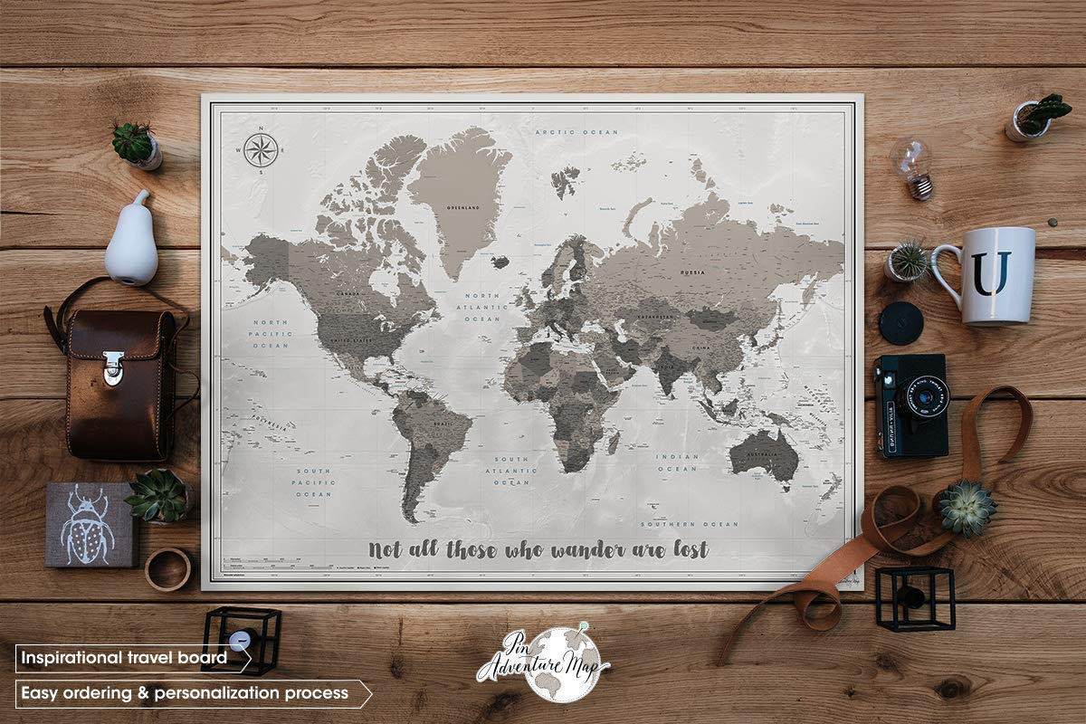 poster or mounted//Custom quote print//Push pin travel map World map with Quote