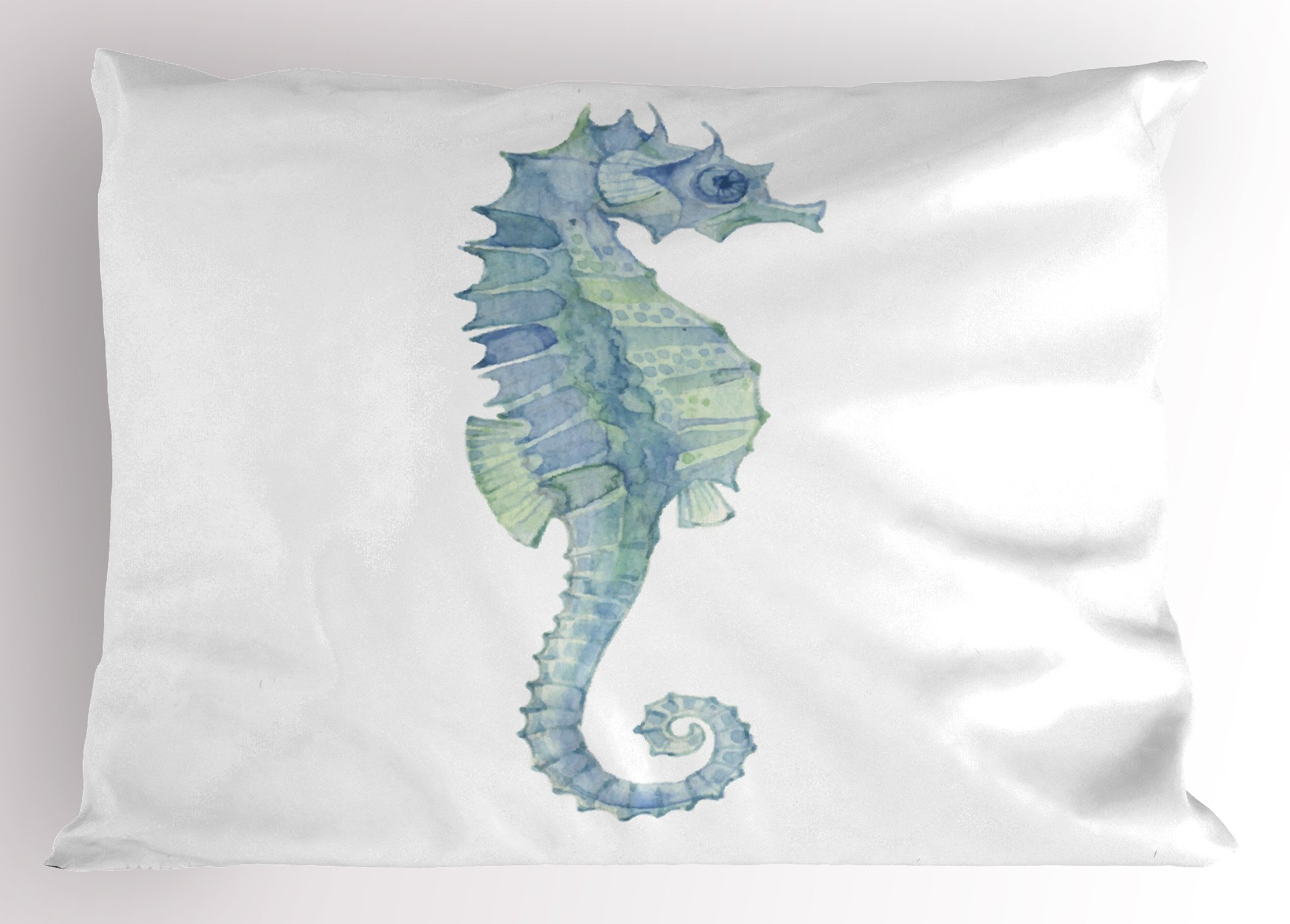 Lunarable Animal Pillow Sham, Profile Picture of a Seahorse in Paintbrush Watercolor Style with Haze Effects, Decorative Standard Size Printed Pillowcase, 26 X 20 inches, Light Blue Green