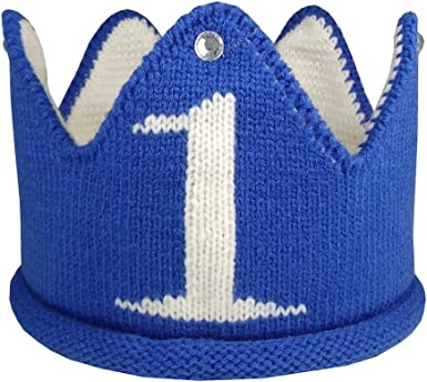 Lujuny Knit 1st Birthday Hat Happy Baby Crown Headband Cap for Party Costume Photoshoot