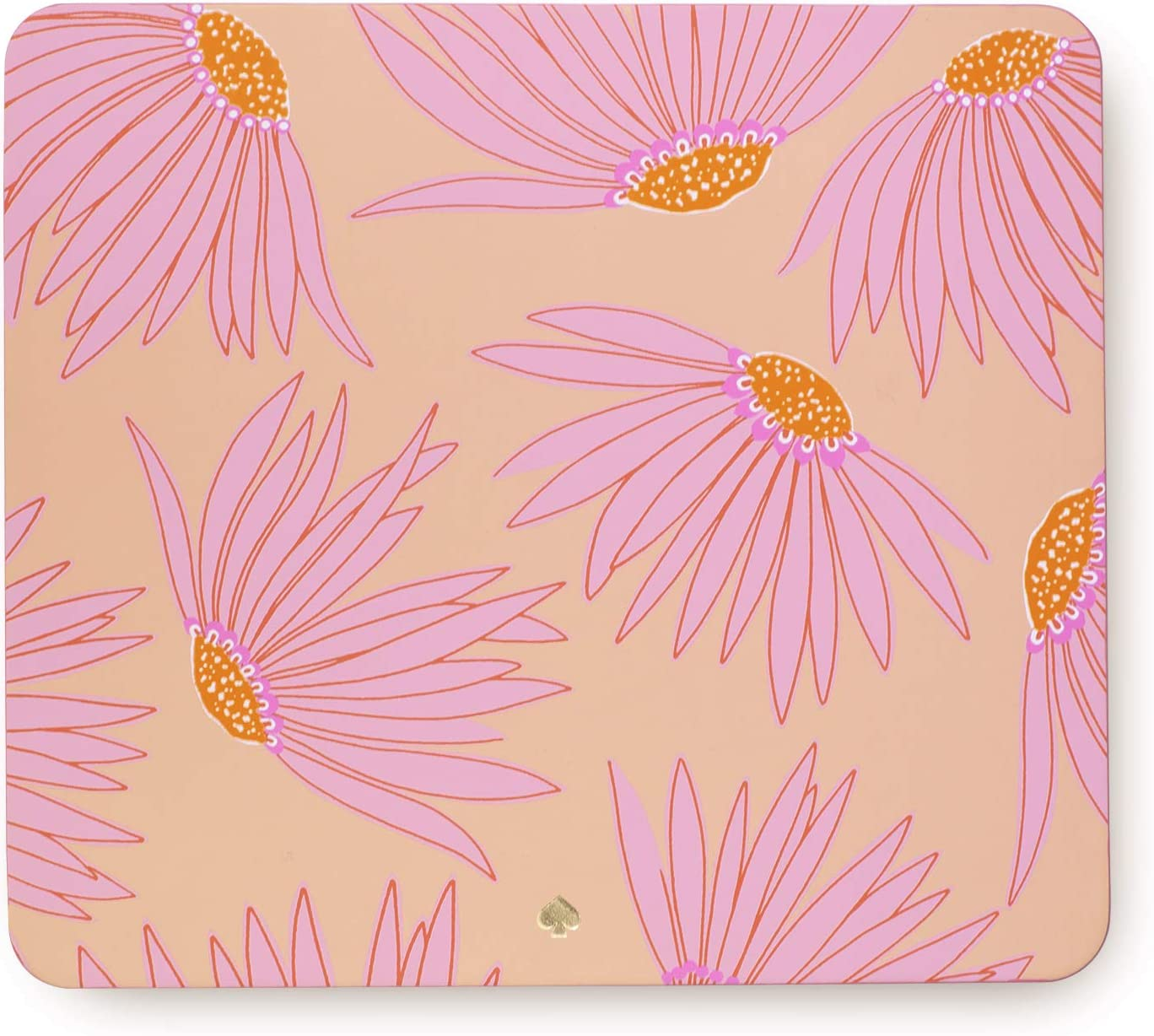 """Kate Spade New York Pink Floral Leatherette Mouse Pad, 9"""" x 8"""" with Non-Slip Back, Falling Flower"""