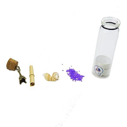 12pcs Vidrio Retro Vintage Claro que Deseen Botellas con Tapones de Corcho y Antiguos Colgantes de Metal de Bronce en el Interior Para regalo de Cumpleaños ...