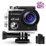 Action Cam 4K Wi-Fi Ultra HD Impermeabile Crosstour Camera Subacquea 2 Pollici LCD 170°Grandangolare 2 Batterie Ricaricabili 1050 mAh e Kit Accessori