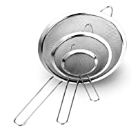 "TEMCHY Fine Mesh Strainers - Set of 3 - Premium Quality Stainless Steel with Long Wire Handle Strainer Colander Sieve - 3.1"", 5.3"" & 7.8 Inch Size, Best for Kitchen, Tea, Rice, Vegetable & Juice Use"