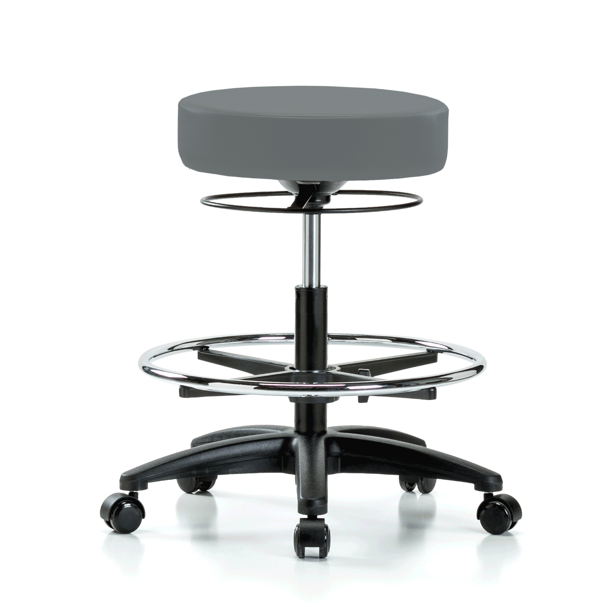 Perch Stella Rolling Adjustable Stool with Footring Medical Salon Spa Massage Tattoo Office 21'' - 28.5'' (Soft Floor Casters/Cinder Fabric)