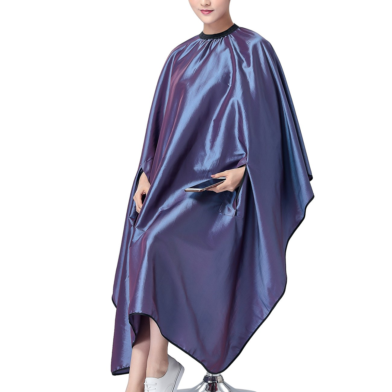 OLizee Hair Cut Hairdressing Cape Cloth Apron Stretch Out Hand Waterproof Salon Barber Gown 57 x 63'', (Purple) by OLizee