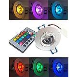Bloomwin LED Spot Encastrable, 5pcs RGB Multicolore Ampoule avec Telecommande 220V 16 Couleur Lampe Plafonnier Ronde pour Salon Veranda Maison Chambre Salle de Bain