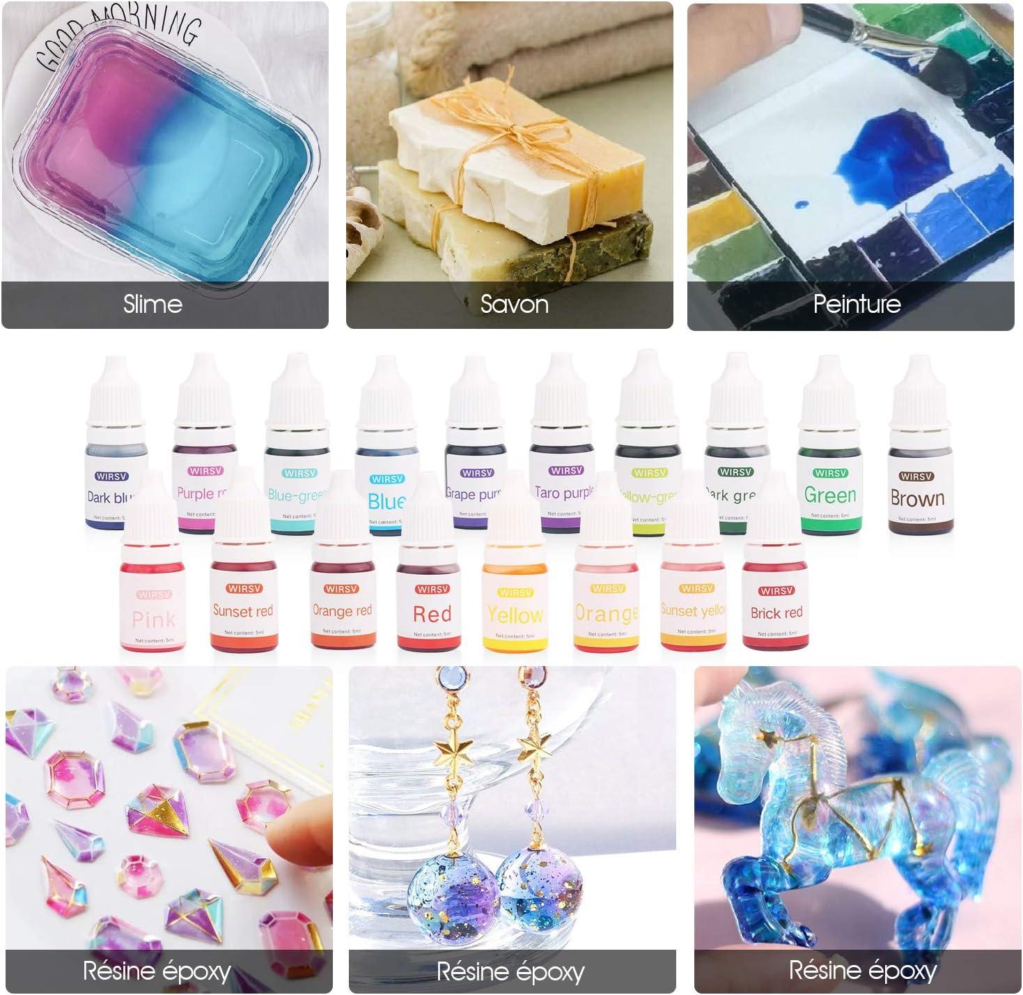 Wtrcsv - Pigmento líquido de jabón, 5 ml x 18 Colores, Tinte de Color, colorantes de Color para Bombas de baño, colorante de jabón pigmentario para ...