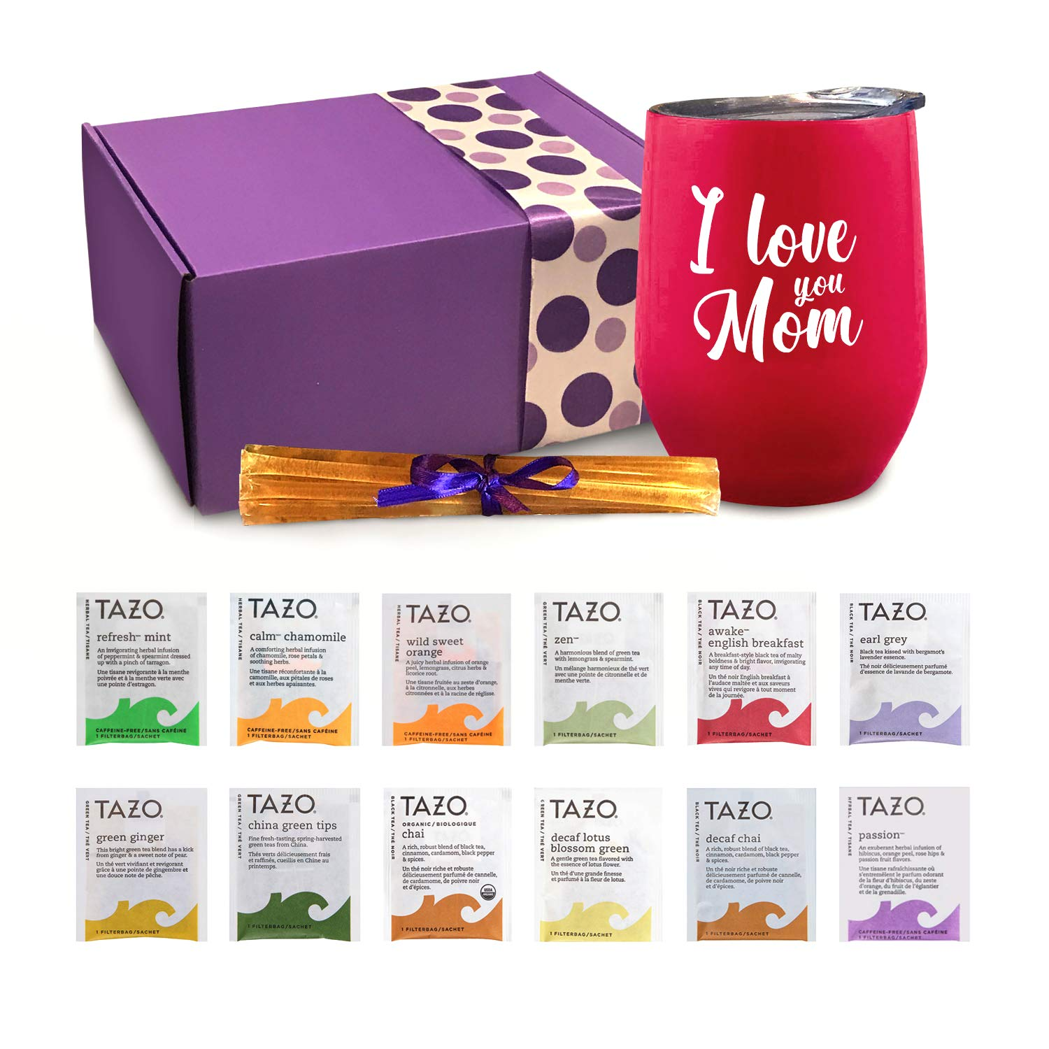 Mom Gifts - Tea Set Gifts For Mom Includes I Love You Mom Insulated Tea Cup 12 Amazing Teas & All Natural Honey   Mom Birthday Gifts or Mothers Day Gifts Presented in Beautiful Gift Box by the art of Gift Giving