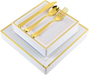 Gold Square Plastic Dinnerware (125-Piece) Plastic Plates, Plastic Forks, Plastic Knives, Plastic Spoons - Service for 25 Guests Gold Place Setting for Wedding, Party, Baby Shower, Birthday, Holiday