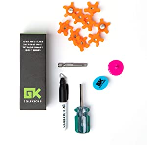 Golfkicks Golf Traction Kit for Sneakers with DIY Golf Spikes - Add Golf Cleats to Any Shoe, 20 Count - As Seen On Shark Tank