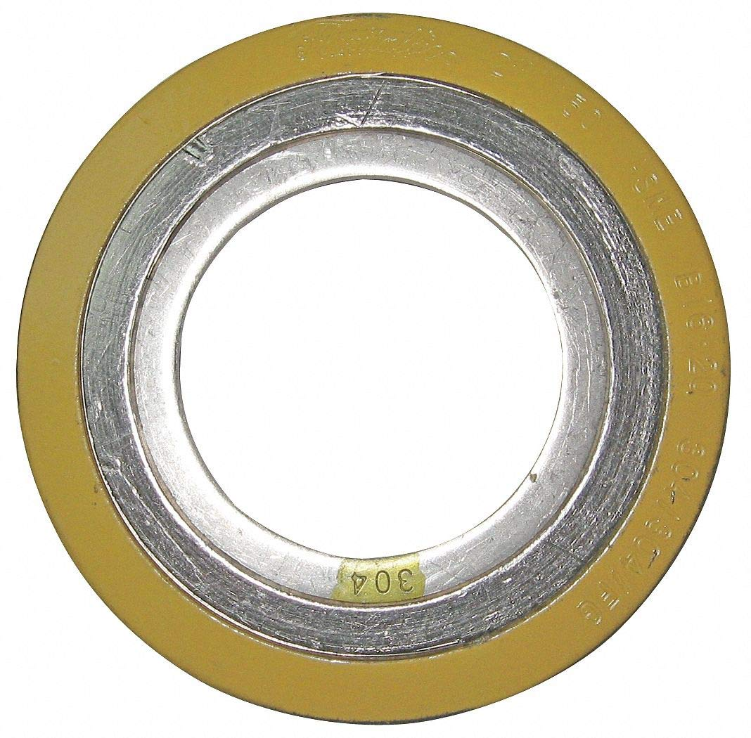 304SS and Flexible Graphite Spiral Wound Metal Gasket, 3-1/4'' Outside Dia, Yellow Band, Gray Stripe- Pack of 5