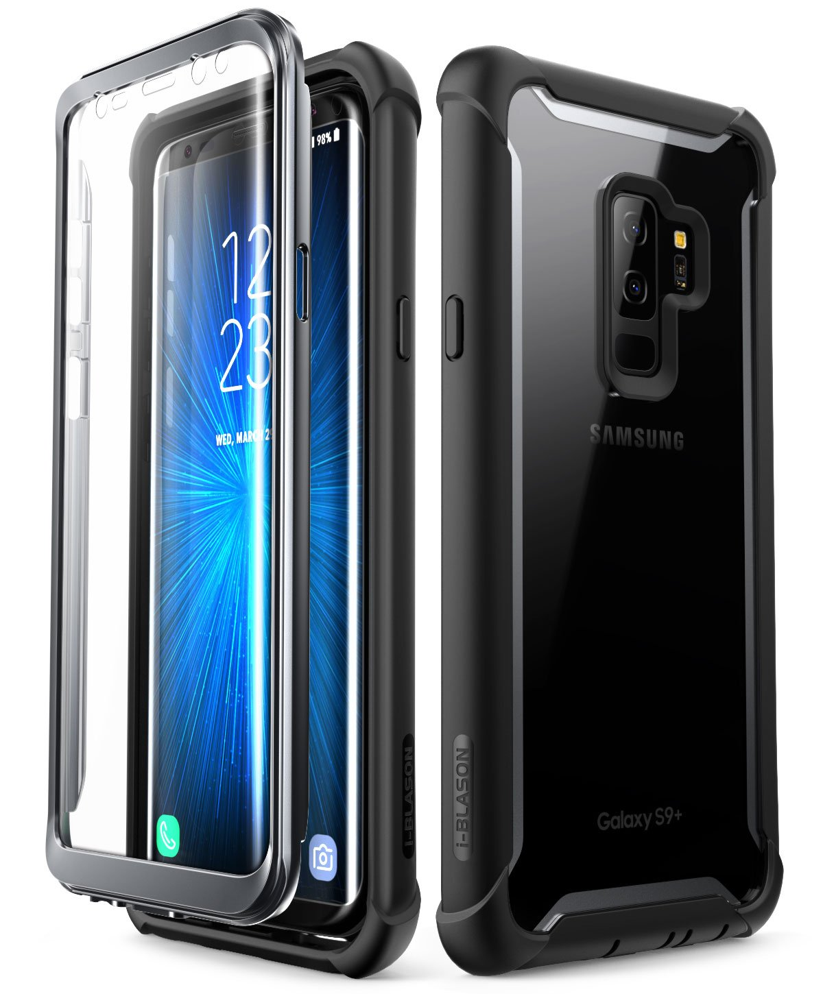 Samsung Galaxy S9 Plus Case I Blason Ares Full Body Cell Phone Shield With Charger Rugged Clear Bumper Built In Screen Protector For 2018 Release Black Phones Accessories
