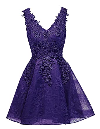 18181a4ed2 Ruiyuhong Knee Length Lace Deep Purple Formal Dresses for Women at ...