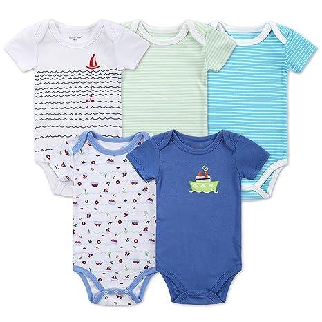 Lufa 5pcs recién nacido pelele Coton manga corta ropa niños niñas ...