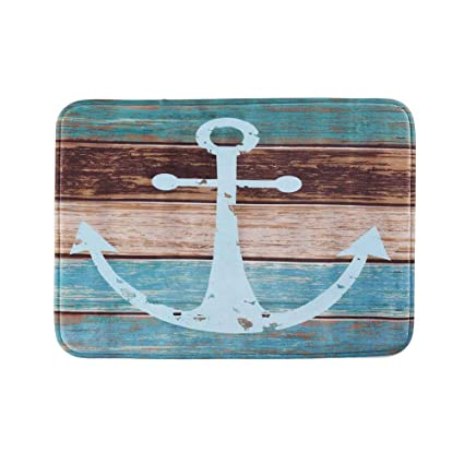 Uarter Vintage Retro Nautical Anchor Bathroom Rug Anti Slip Kitchen Mat  Soft Absorbent Floor Bath