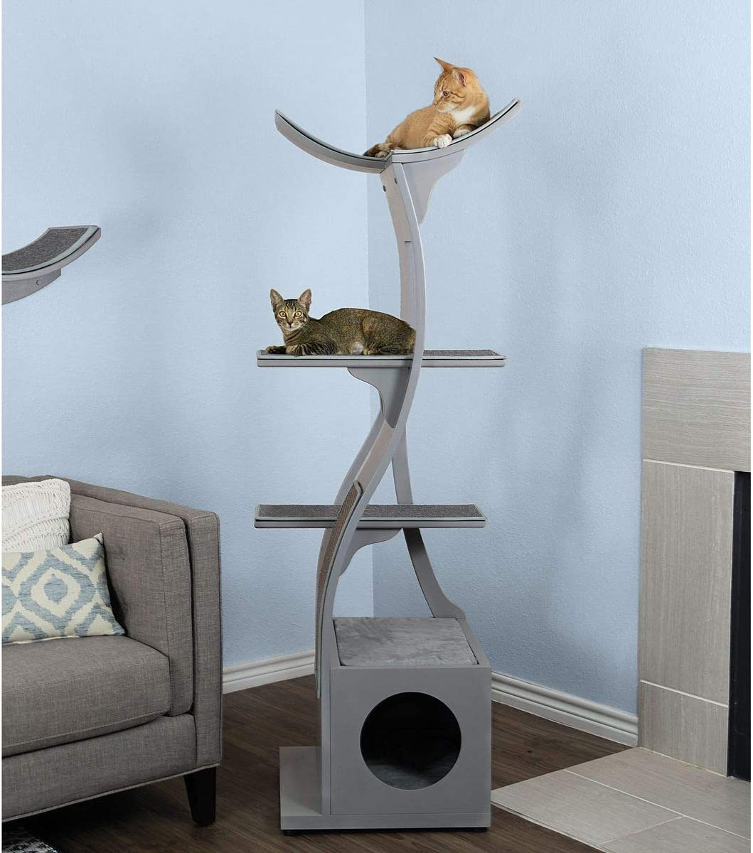 THE REFINED FELINE Lotus Cat Tower Furniture, Multi-Level Cat Tree with Scratching Pad, Perches, House to Climb, Play, Relax for Kitty