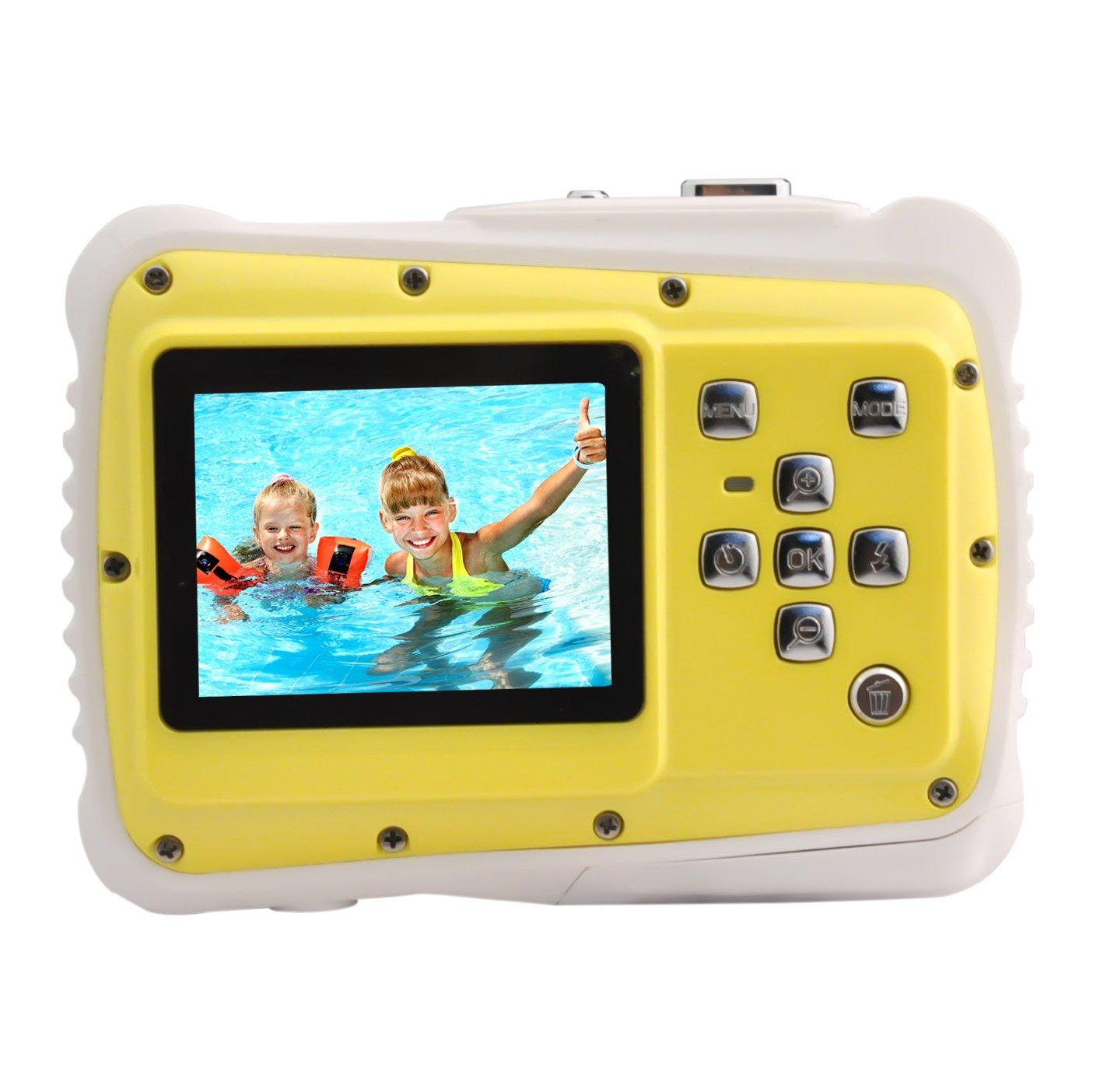 Powpro Kfun PP-J52 Underwater Action Camera Waterproof Dustproof Kids Camera Camcorder 5M Pixels (Yellow) .
