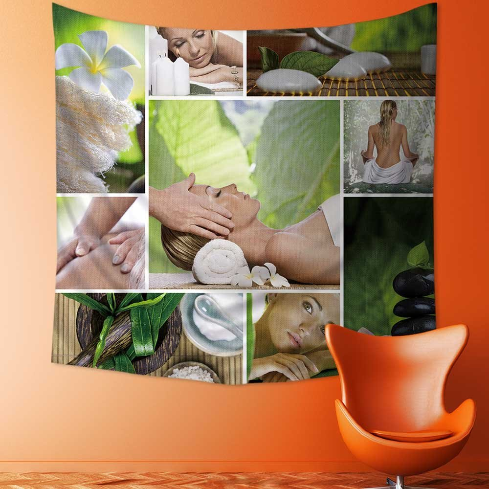 SOCOMIMI Wall Tapestry Spa theme photo collage composed of different images Room Dorm Accessories Wall Hanging Tapestry/51W x 51L INCH