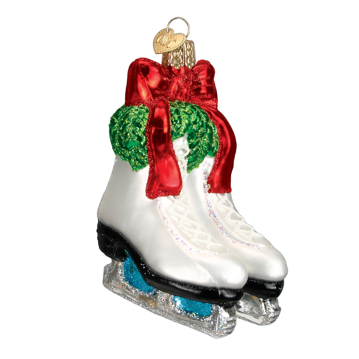Amazon.com: Old World Christmas Holiday Skates Glass Blown Ornament ...