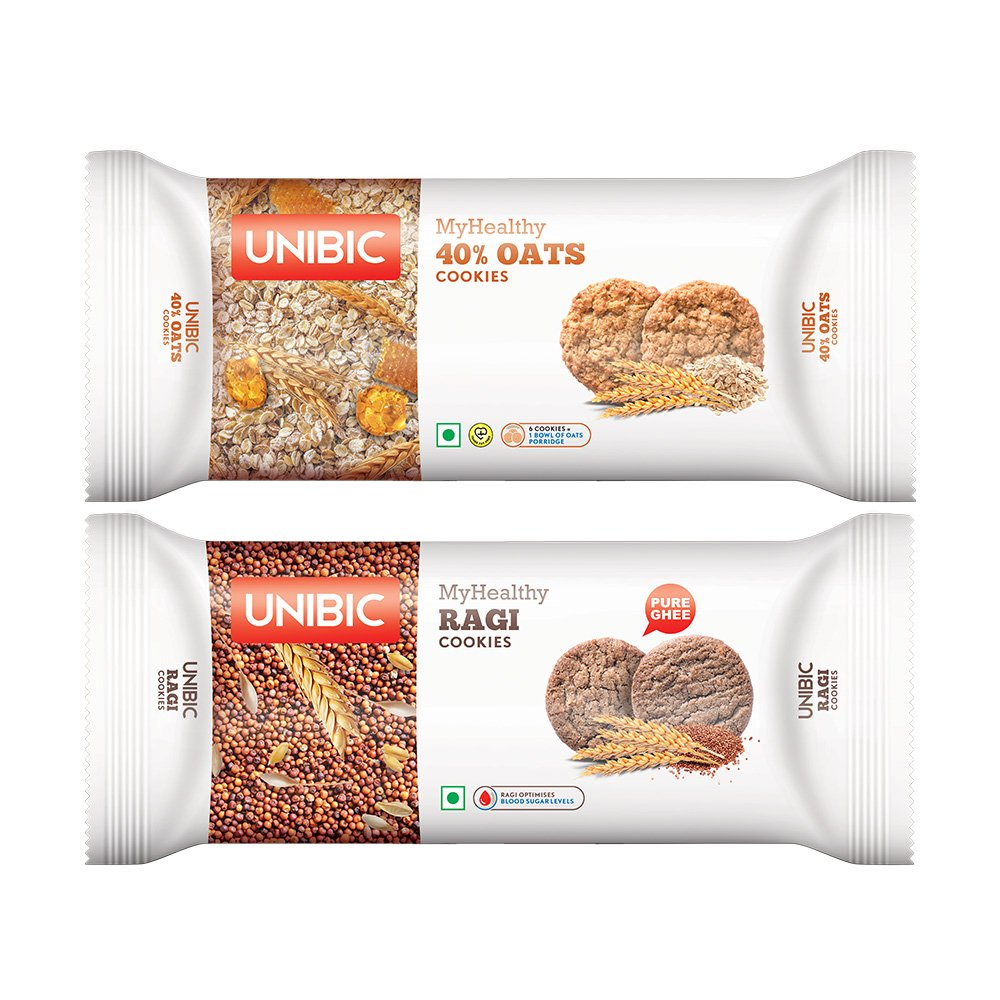 Unibic Ragi with 40% Oats Cookies, 75g (Pack of 6)