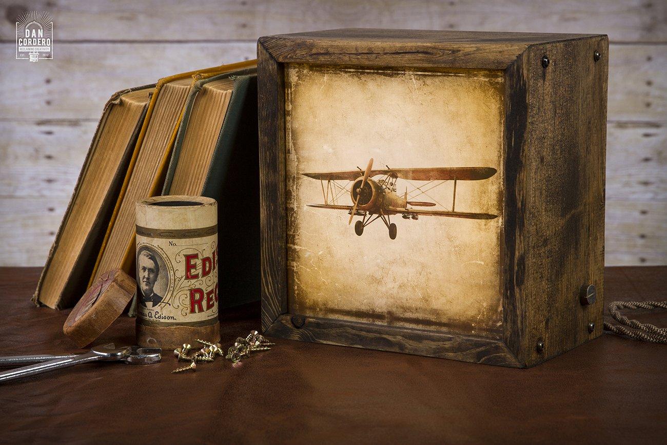 Edison Lightbox | Plane | Light Box | Table Lamp | Desk Lamp | LED | Lamp | Aviation | Airplane