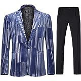 Mens 2 Piece Suit Set One Button Closure Silver Stripes Printed Floral Blazer&Pants