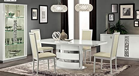 ESF Roma High Gloss Pure White Finish Dining Room Set 7 Pcs Made In Italy