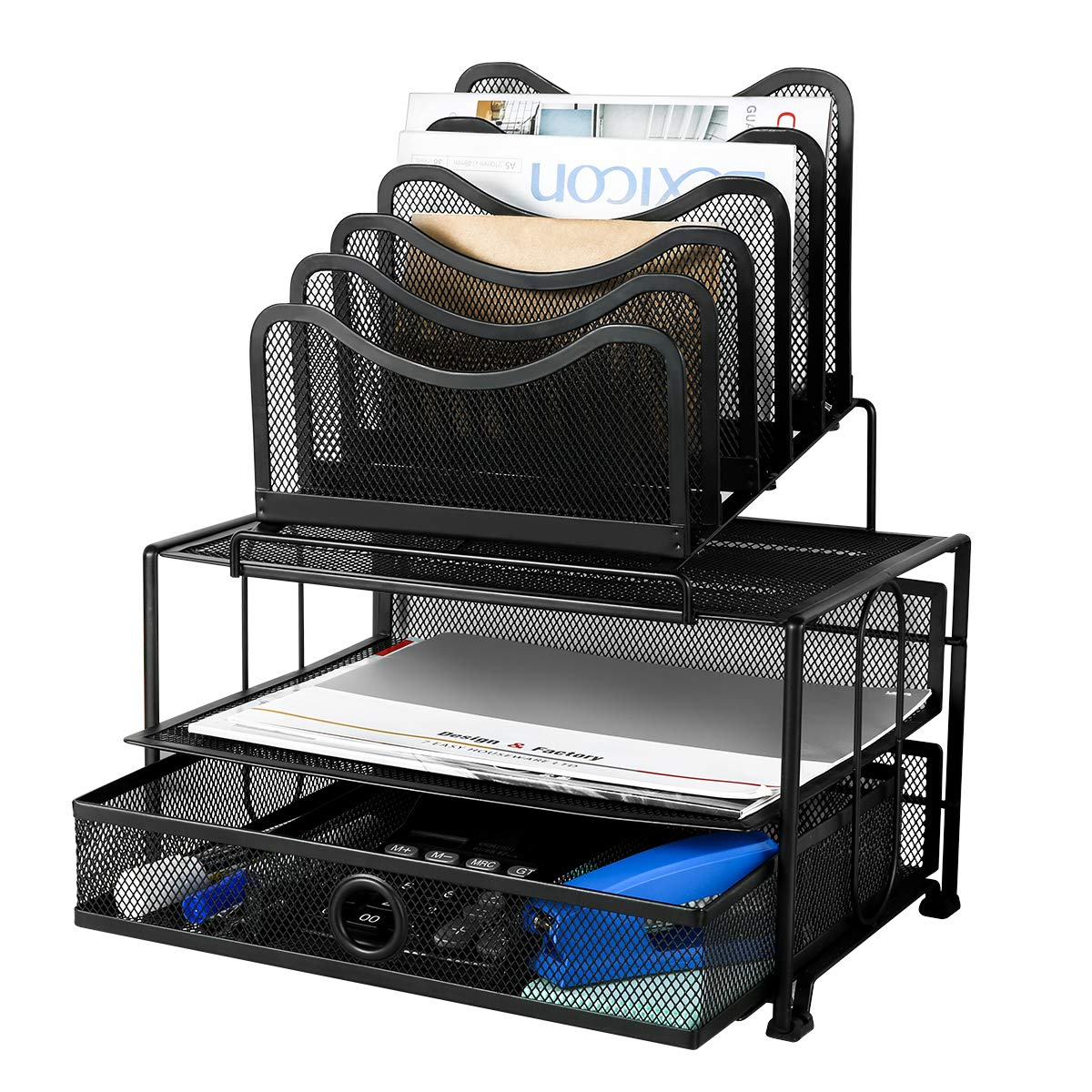 Homemaxs Desk Organizer Mesh with Sliding Drawer, 5 Removable Stacking Sorter Sections and Double Tray for Office Black
