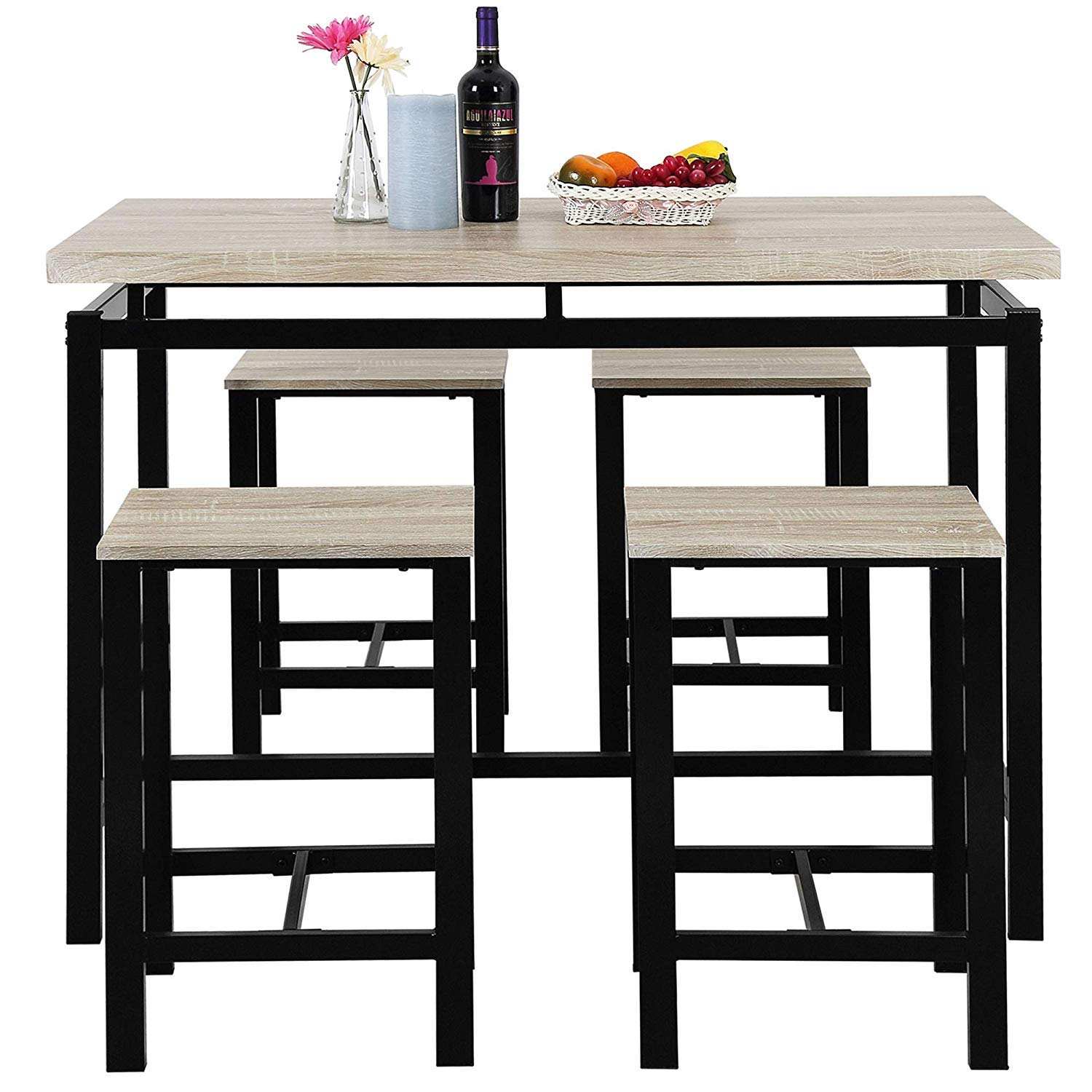 MOOSENG, 5 Pieces Dining Table Set, Wood Pub Height Desk and 4 Backless Stools for Bar, Kitchen, Breakfast Nook, Living Room Occasions, Luxe-Beige