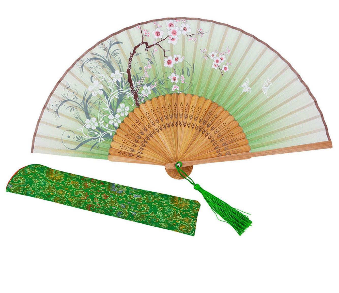 Meifan Chinese /Japanses Classical Handmade Vintage Folding Bamboo Silk Flower Pattern Hand Fan MFX (Green)