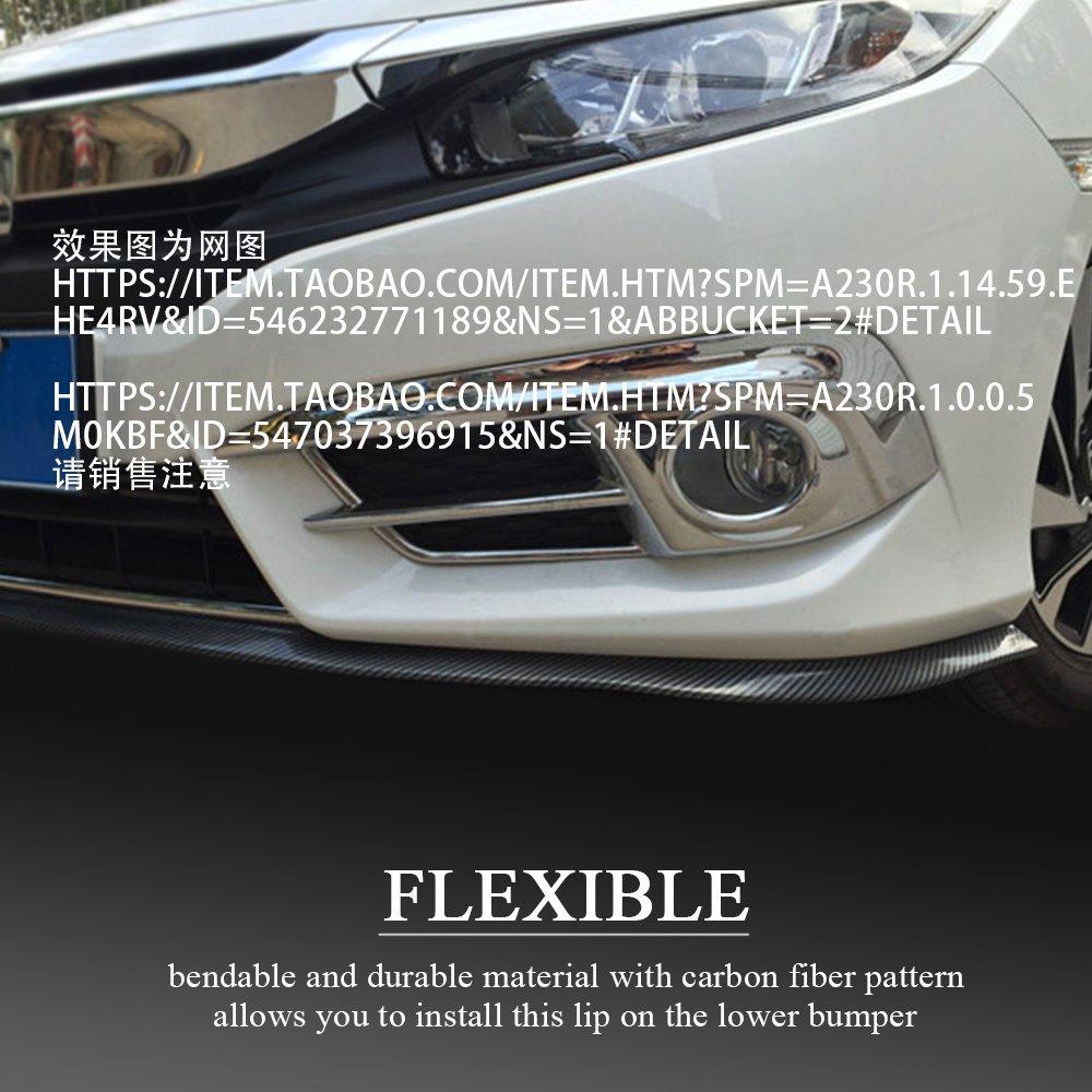 2PCS Sunsbell Universal Auto de Choque protectoer Coche Delantero Lip Spoiler 60 mm Ancho de Goma Exterior del Labio Parachoques Coche de la Tira Taloneras 2,5 M 8,2 pies