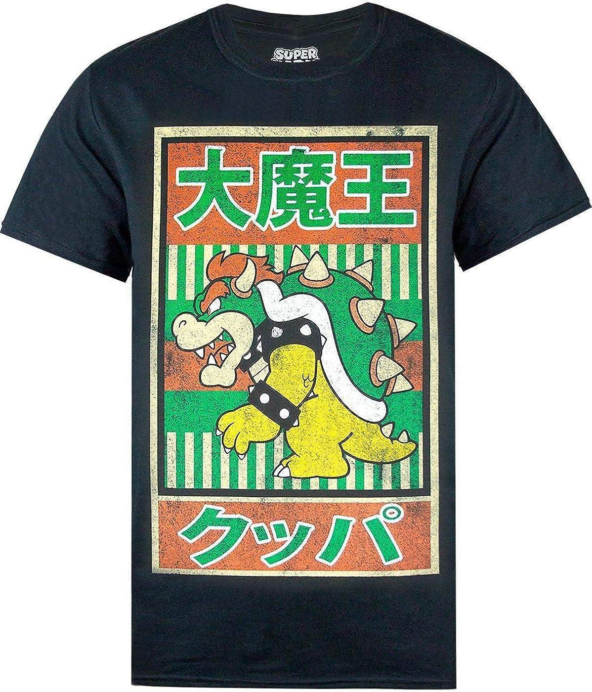 Super Mario Camiseta de Manga Corta Vintage Bowser Japanese Poster: Amazon.es: Ropa y accesorios