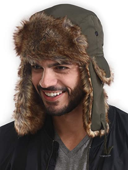 e5d217e9 Trapper Hat - Winter Trooper Ushanka with Faux Fur & Ear Flaps - Russian  Aviator Snow