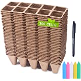 Seed Starter Trays, FANGZHIDI 300 Cells Pulp Peat Pots Eco-Friendly Organic Nursery Germination Planter - Biodegradable Seedl