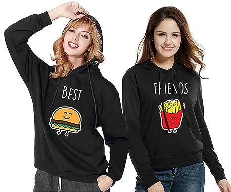 a4d1c058d0e575 JWBBU Sister Hoodie Set - Best Friends Donut und Getränk Freundin  Kapuzenpullover Sweatshirt Pullover Schwarz Aufdruck