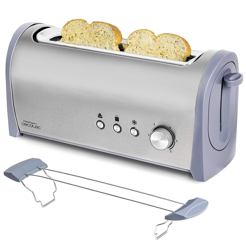 Cecotec Tostadora de Pan Steel&Toast 1L Capacidad para 2, Ranura XL, 1000 W de