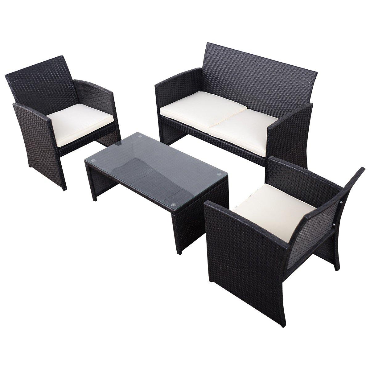 Tangkula 4 Piece Outdoor Patio Sofa Set Lawn Garden Outdoor PE Rattan Wicker Furniture Sets (Black)