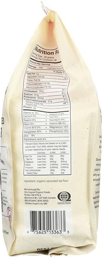 Un grado Organic foods – Orgánico brotado centeno Harina ...