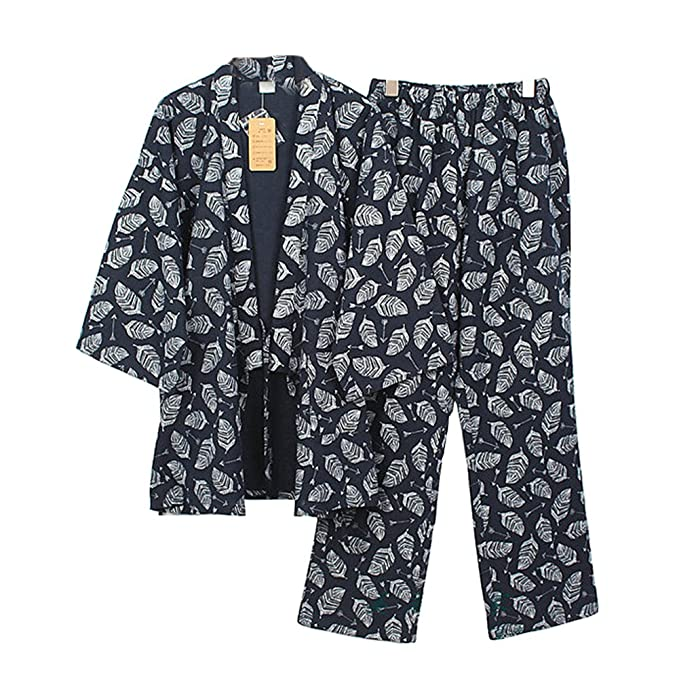 Trajes de estilo japonés de los hombres puros de algodón kimono traje de pijama Suit Dressing