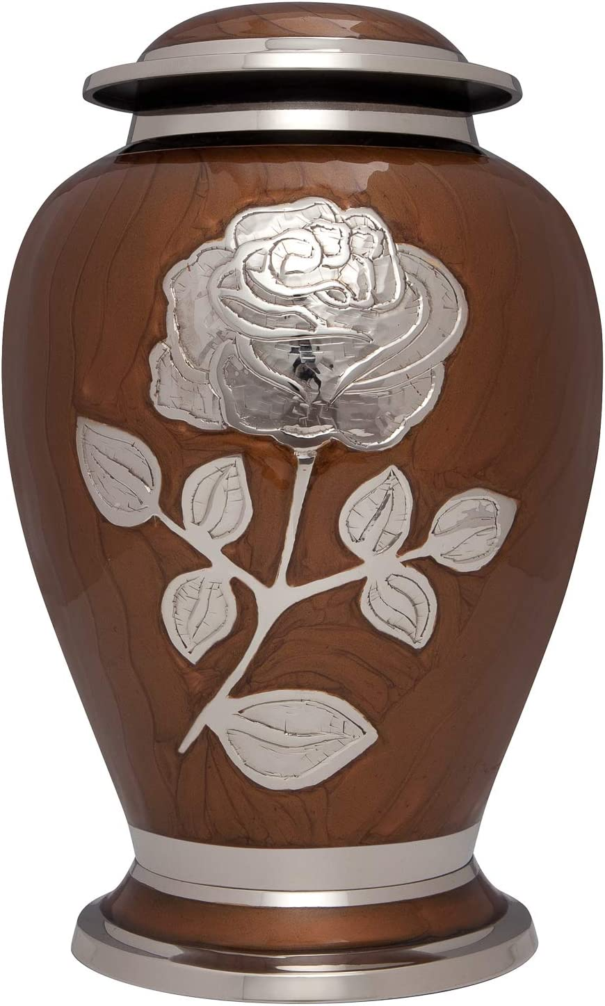 Ansons Urns Silver Rose Cremation Urn - Funeral Urn with Large Flower on Enamel - Burial Urn for Human Ashes Adult Size - 100% Brass (Brown)