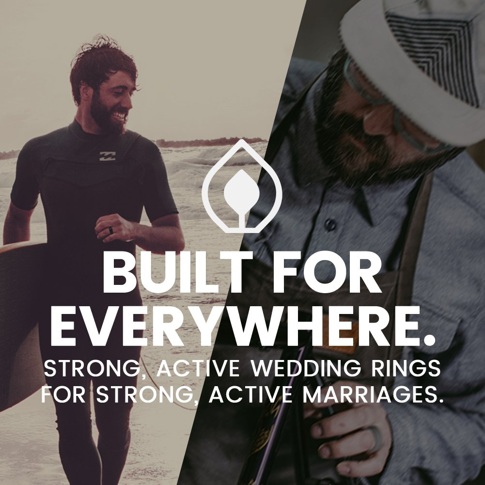 BONDWELL Silicone Wedding Ring for Men (Black) Save Your Finger & A Marriage Safe, Durable Rubber Wedding Band for Active Athletes, Military, Crossfit, Weight Lifting, Workout - 100% Guarantee (11) by BONDWELL (Image #8)