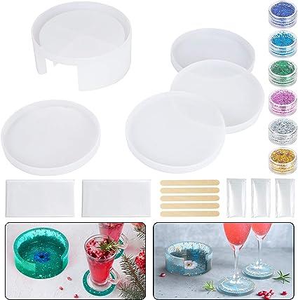Round Coaster Mold Silicone Casting Mold for Coaster DIY Home Decoration Geometric Shape Coaster Mold Coaster Resin Mold