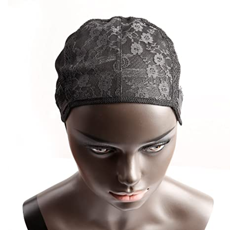 Sin Pegamento Peluca Gorro negro para hacer peluca con correas Ajustables y peines de gran tamaño