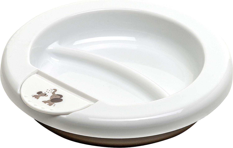 Rotho Babydesign Assiette Chauffante 20,5 x 20,5 x 4,6 cm Modern Feeding 300200280CG D/ès 6 mois Design Modern Elephants Blanc//Taupe Perl