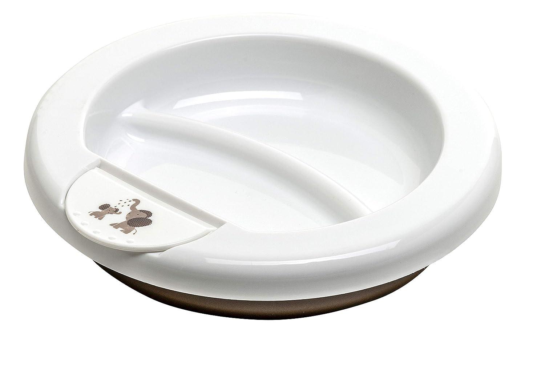 Alimentaci/ón moderna 300200280CG A partir de 6 Meses Blanco//Marr/ón perla Rotho Babydesign Plato termo 20,5 x 20,5 x 4,6 cm