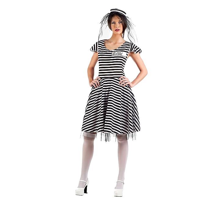 Elbenwald Gangster Queen Disfraz Mujer 2 Piezas vestido sombrero para Carnaval Fiesta Blanco Y Negro multicolor