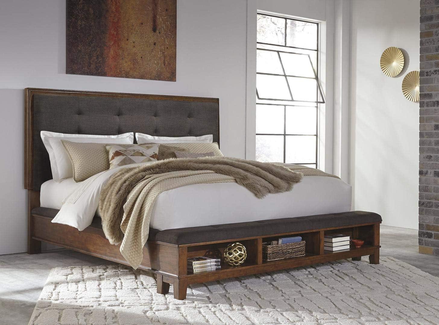 Ashley Furniture Signature Design - Ralene Queen Upholstered Panel Headboard - Component Piece - Medium Brown